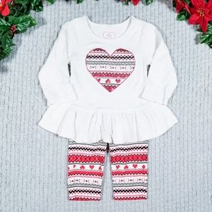The Children's Place Matching Sets - Children's Place red/white heart Holiday set